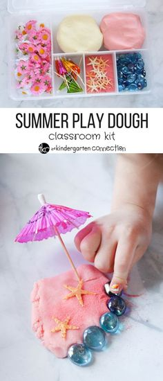 This summer play dough kit is perfect for kids to get hands on, sensory fun. Make neat, summer themed play dough and have a fun, ready to go kit! Invitation to play Play Doh Kits, Diy Play Doh, Play Dough, Playdough Activities, Craft Activities For Kids, Summer Activities, Crafts For Kids, Preschool Lessons, Teaching Kindergarten