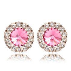 Classy Pink Crystal Earrings