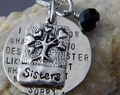 Sister to Sister we will Always Be, A Couple of nuts off The Family Tree Handstamped Necklace. $36.00, via Etsy.