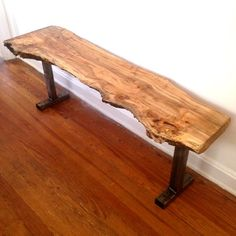 Live Edge Wood Bench - Maple Bench - Reclaimed Steel Base #diningbench #entrywaybench #hallbench