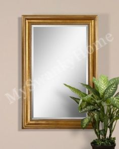 """Amazon.com: Classic Extra Large 60"""" ANTIQUE GOLD Wood Wall Mirror: Home & Kitchen. 40"""" x 60"""" x 3"""" deep. Mirror Glass is 30"""" x 50"""""""