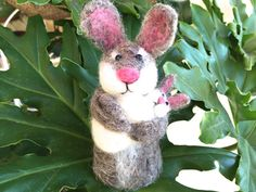 Needle felted Rabbit with Bunny  new mom gift for mom by Felt4Soul