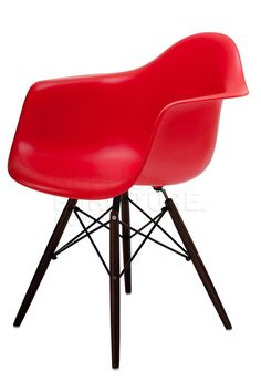Replica Eames Dining Arm Chairs with Dark Wooden Legs 85