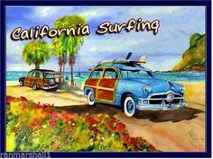 California-Surfing-Woodie-Ocean-Beach-United-States-Travel-Advertisement-Poster