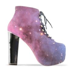 Jeffrey Campbell Shoes » Cosmic Lita-2 From Christian ❤ liked on Polyvore featuring shoes, boots, ankle booties, heels, jeffrey campbell, jeffrey campbell boots, heeled booties, galaxy boots and heeled boots
