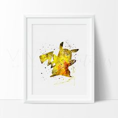 Pikachu Pokemon Go Watercolor Art Print.