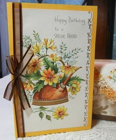 "Birthday Card with Vintage Handkerchief, Handmade Card ""for a Special Friend""…"