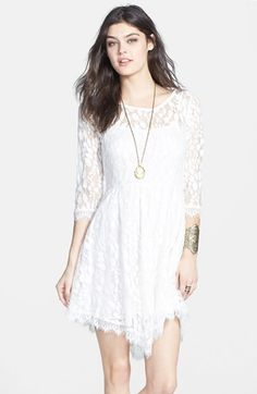 Free People Floral Mesh Fit Flare Dress