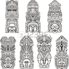 Illustration about Abstract mesoamerican aztec totem poles. Set of black and white vector illustrations. Illustration of artifact, amerindian, mesoamerican - 28009284 Totem Tattoo, Aztec Pictures, Aztec Tattoo Designs, Marquesan Tattoos, Aztec Art, Mesoamerican, Tatoo Art, Animal Totems, Vector Art