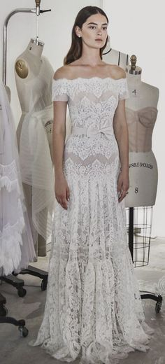 Bohemian chic off-the-shoulder floral lace embroidered sheath wedding dress; Featured Dress: Lihi Hod