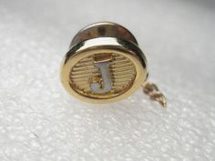 """Vintage Gold Tone Initial Tack PIn - J - 1/2"""" oval, post mid-century #Unsigned"""