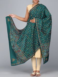 Dark Green Kantha Embroidered Silk Dupatta #style #fashion #indiandesigner #traditionalwear #festival #collection #couture #beautiful #weddingdresses #ethnicwear #onlineshopping #heritage #collection #Follow Shop Now: http://bit.ly/1TUc16G