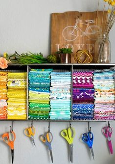 Craft Room Organization Ideas - Hanging Scissors and Fabric Space - DIY Dollar Store Projects for Crafts - Budget Ways to Declutter While Organizing Supplies - Shelves, IKEA Hacks, Small Space Ideas Sewing Room Organization, Craft Room Storage, Organization Ideas, Paper Storage, Hanging Storage, Organizing Tips, Diy And Crafts Sewing, Diy Crafts, Craft Room Design