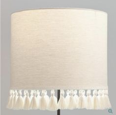 Natural Linen Drum Table Lamp Shade with Light Gray Tassels – - Modern Modern Lamp Shades, Table Lamp Shades, Living Room Lamp Shades, Cool Ideas, Bohemian Lamp, Drum Table, Lamp Table, Desk Lamp, Rustic Lamps