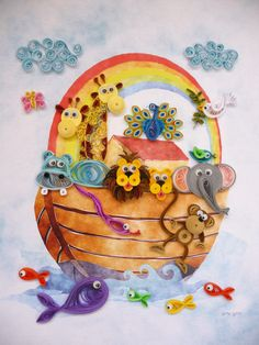 Noahs Ark with Matte and Wooden Frame - Quilled Art with Watercolor Background