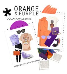 """""""Orange & Purple Color Challenge"""" by meechsmommy ❤ liked on Polyvore featuring Bottega Veneta, Roland Mouret, Gucci, Illesteva, WithChic, Jeremy Scott, River Island, Converse, Gentle Monster and Marc Jacobs"""