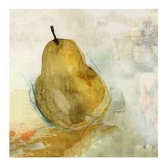 Art for over mantle Golden Pear Stretched Canvas