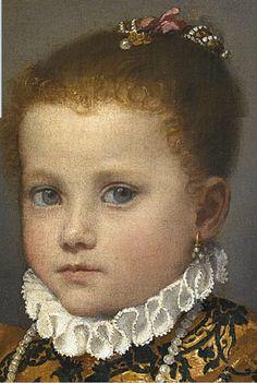 Giovanni Battista #Moroni, *detail) Portrait of a child of the House of Redetti c. 1570, Accademia Carrara, Bergamo.