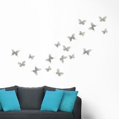 Umbra Mariposa Butterfly Wall Decor, Grey ($30) ❤ liked on Polyvore featuring home, home decor, wall art, grey, gray home decor, grey home decor, butterfly metal wall art, butterfly home decor and butterfly wall art