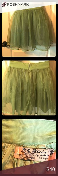 💋💋SUPER CUTE💋💋 Green Party Skirt! Size Medium Fun and frilly layered skirt with silky lining. Perfect for a Spring 💐 afternoon shopping or a fun Party!! 💚 Twelve by Twelve Los Angeles Skirts