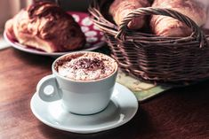 shot of coffee cup and croissants coffee - Drink heat - Temperature coffee Cup frothy Drink food and drinkCloseup shot of coffee cup and croissants coffee - Drink heat - Temperature coffee Cup frothy Drink food and drink Barista, Coffee Drinks, Coffee Cups, Cappuccino Coffee, Coffee Shop, Red Plates, Homemade Hot Chocolate, Hot Cocoa Mixes, Breakfast