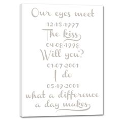 Weddings and new arrivals are something to be celebrated! Use all the information surrounding the wedding, birth or other special occasion as inspiration to create a personalized canvas in a distressed vintage style. All the unique, important details together produce an unforgettable canvas sign.