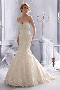 2014 Sweetheart Beaded Neckline Trumpet/Mermaid Wedding Dress With Applique Tulle Chapel Train USD 249.99 LDPND7BR78 - LovingDresses.com