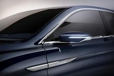 A deeper look into Rhapsody Blue, the color of the Continental Concept. American Auto, Truck Interior, Exterior Trim, Lincoln Continental, Mirror Door, Rear View Mirror, Car Detailing, Custom Cars, Luxury Cars