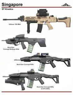 ST Kinetics Ultimax 100 and Concept Rifles Military Weapons, Weapons Guns, Guns And Ammo, Military Brat, Rifles, Battle Rifle, Cool Guns, Assault Rifle, Military Equipment