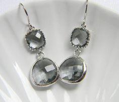 Silver Bridesmaid Earrings - Charcoal Gray Earrings - Grey Bohemian Earrings - Bridesmaid Jewelry - Gift Under 30