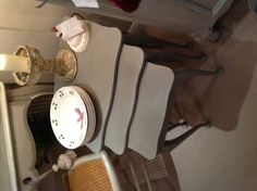 Vintage nest of coffee tables painted in French Linen, Chalk Paint by Annie Sloan.