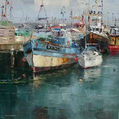 British Artist Rex PRESTON-Quayside, Newlyn