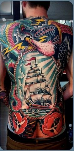 Full back, traditional tattoos - Traditional tattoos are rich in colors. #TattooModels #tattoo