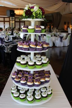 Cupcake Tower for a combined Bat Mitzvah and Bar Mitzvah event by Leslie@thecupcakegarden.org www.thecupcakegarden.orgt