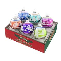 Christmas Brights Ombre Signature Flocked Ornament Set