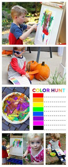 Fun colorful fall activities for kids! Free neighborhood Color Hunt printable!