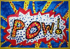 From the blog There's a Dragon in my Art Room, fun printing/cartoon/Roy Lichtenstein inspiration