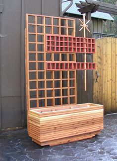 Mid Century Modern Marque Screen/Trellis by MidCenturyWoodShop Privacy Planter, Deck Planters, Window Planter Boxes, Modern Planters, Privacy Screens, Outdoor Picnic Tables, Kids Picnic Table, Outdoor Rooms, Commercial Planters