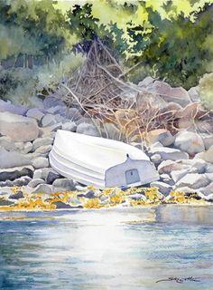 Boat on the Rocks web. Watercolor Ocean, Watercolour Paintings, Watercolor Landscape, Watercolours, Blue Beach, Ocean Beach, Boat Art, Boat Painting, Art Clipart