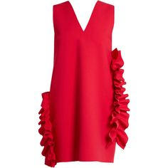 MSGM Ruffled V-neck crepe dress (2.865 ARS) ❤ liked on Polyvore featuring dresses, pink, pink ruffle dress, pink v neck dress, red ruffle dress, red mini dress and red dresses