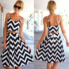 Fashion Wave Pattern Sling Dress Two-piece Set