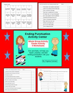 Periods and Question Marks---whole group activity, center activity, and 4 worksheets---ready to go