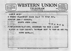 Telegram from Harpo Marx to JFK, 1960.