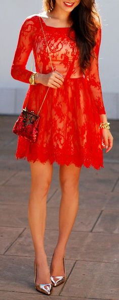 Red lace dress perfect for the holidays