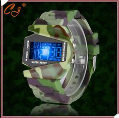 2016 Fashion Waterproof New Men Army Pilot Fighter Military Sports Watches Digital Led Clock Camouflage Rubber Silicone Jelly