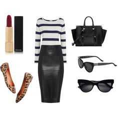 """""""Casual Fall Leather"""" by claudiafitzwater on Polyvore. For a casual look, pair a leather pencil skirt with a striped top and flats. A pop of red lips and Shades."""