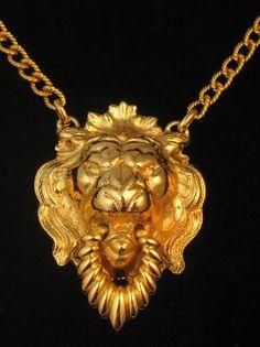 Vintage Napier Door Knocker Lion Head Necklace #vintagejewelry #vintagenecklace #Napier #lion #zodiacjewelry $72.00