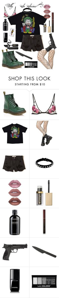 """""""Sucker For Pain"""" by southernunicorn ❤ liked on Polyvore featuring Dr. Martens, Fleur du Mal, Leg Avenue, Hollister Co., Lime Crime, Stila, Grown Alchemist, Kevyn Aucoin, Smith & Wesson and BergHOFF"""