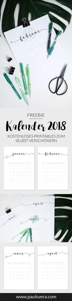 Freebie: Kalender 2018 als kostenloses Printables - Leony M. Diy Kalender, Kalender Design, Free Planner, Printable Planner, Free Printables, Planners, Free Artwork, Free Prints, Bullet Journal Inspiration