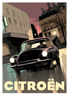 Guy Allen – Citroën DS – mathew knowll – Join in the world of pin Citroen Ds, Art Deco Posters, Car Posters, Vintage Travel Posters, Pub Vintage, Vintage Cars, Car Prints, Car Illustration, Illustrations